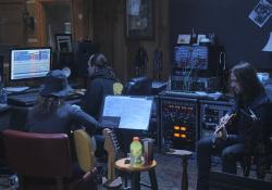 nahrávání s Janet Robin v osobním studiu Johnnyho Cashe Cash Cabin v Hendersonville, Tennessee