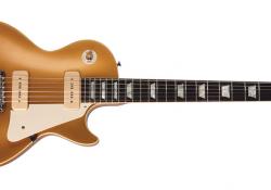 Gibson Les Paul Gold Top v pozdější úpravě, tedy již bez nepraktického hrazdového struníku...
