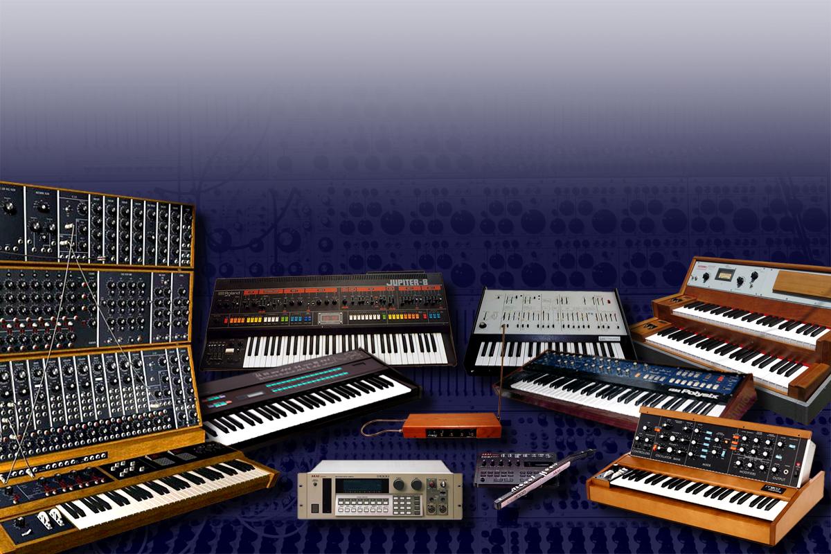 Rodina vintage syntetizérů
